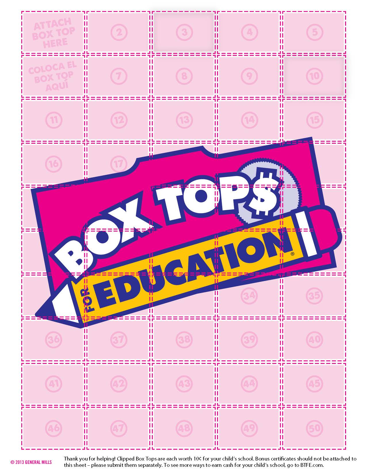 photo about Printable Box Tops Collection Sheets referred to as Box Tops - The Rumson Place Working day Faculty